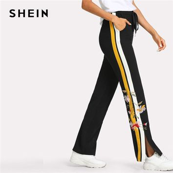 SHEIN Flower Embroidered Contrast Panel Side Sweatpants Women Elastic Waist Pocket Trousers 2018 Casual Colorblock Split Pants