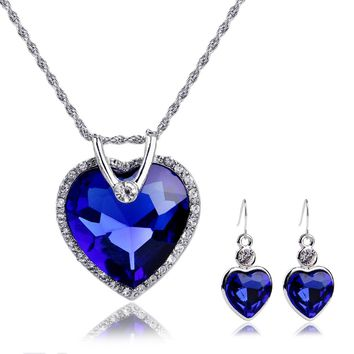 Women Wedding Accessories Silver Plated Red/Royal Blue Crystal Love Heart Pendant Necklace Earrings Set Bridal Jewelry Sets