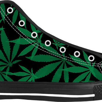 420 ganja leafs black and green sneakers, weed themed high tops, marihujana shoes