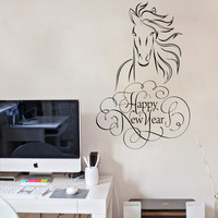 Housewares Wall Vinyl Decal Sticker Mural Holiday Happy New Year Words Horse Animal V82