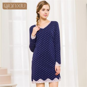 Qianxiu 2017 autumn women cotton nightgowns women lace nightgowns women sleepshirts Home Dress Night Shirt Sleepwear Nightwear
