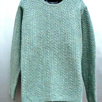 Brooks Brothers 100% Lambs' Wool Sweater - Soft, Warm - Green Cable Design - Dressy