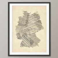 Germany Old Sheet Music Map, Art Print 18x24 inch (341)