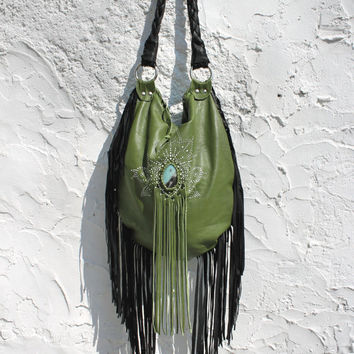 Leather boho fringe slouchy tote green fairy gypset fringed bag gypsy ethnical southwest artisan  tribal  tote ethnic elvish bohochic