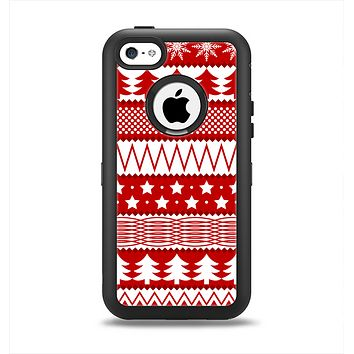 The Red and White Christmas Pattern Apple iPhone 5c Otterbox Defender Case Skin Set