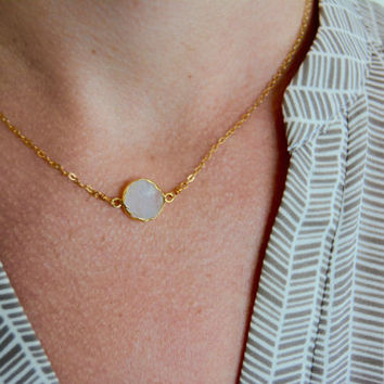 Druzy Necklace, Druzy Connector, Quartz Necklace, Delicate Gold Necklace, Minimalist Necklace