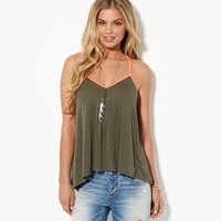 AE Contrast Trim V-Neck Tank, Dusty Olive | American Eagle Outfitters