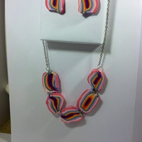 Pink fashion chunky statement fashion necklace with polymer clay cabochons and matching earrings. Free shipping!