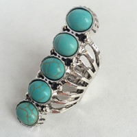 Turquoise In A Row Ring - Silver