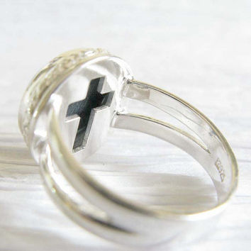 Memorial ring.  Sterling silver with glass cremation cabochon.  Cross cutout on bezel.  Heirloom artisan handmade jewelry. Cremain ashes.