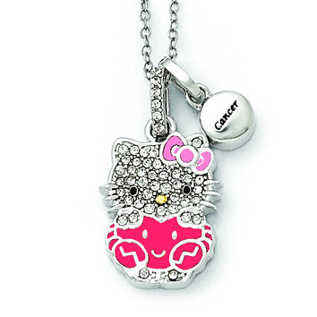 Sterling Silver Hello Kitty Crystal/Gold-tone/Enamel Cancer Necklace QHK135
