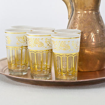 12  Set Moroccan Style Glasses, Traditional Tea Serving Cups with Islamic Decorative Pattern in White & Gold