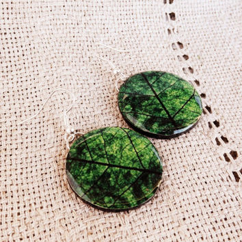 Green leaf earrings, Leaf earrings, Leaf jewelry, Green jewelry, Green earrings, Earrings, Jewelry, Summer jewelry, Green, Big earrings