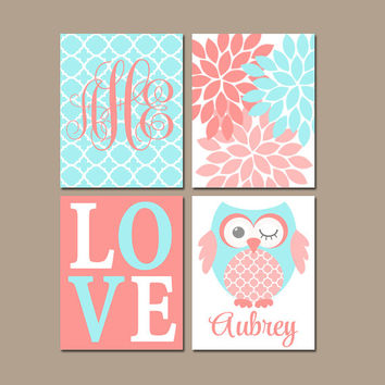 CORAL Aqua OWL Nursery Wall Art, Baby Girl Artwork, Girl Bedroom Pictures, CANVAS or Prints Love Flower Name Set of 4 Above Crib Decor