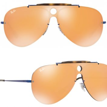 NEW Rayban Blaze Shooter Sunglasses RB3581N 90387J Blue Dark Orange Aviator 3581
