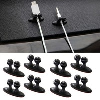 8pcs Adhesive Car Charger Line Holder USB Cable Car Clip Interior Accessories Auto Fastener & Clip Supplies