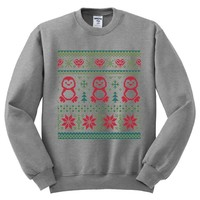 Ugly Christmas Sweater Penguin Theme Mens Sweater