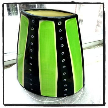Oval Ceramic Vase / graphic pattern / black and white / bright green modern large vase for a spray of flowers made in NYC