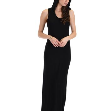 Lyss Loo Ascension Contemporary Black Hooded Maxi Dress