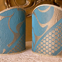 Pair of Clip-On Shield Shades Sir Francis Rubelli Blue and Gold Crinkled Damask Mini Lampshade - Handmade in Italy