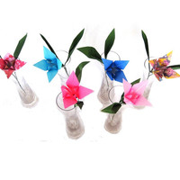Paper Lily (6 count) Artificial Flower , Half Dozen Origami Lily, Origami Flower Bouquet, Faux Flower Home Decor
