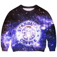 Romwe Women's Starbuks Coffee Patterns Print In Galaxy Sky Polyester Sweatshirt