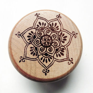 Hand made Oak Wood burned herb grinder / Mandala Lotus Flower