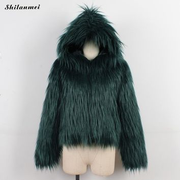 High Quality Luxury Faux Fur Coat For Women Hooded Coat Winter Warm Fashion Gray Pink Artificial Fur Women'S Coats Jacket
