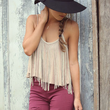 Midsummer's Daze Taupe Acid Wash Fringe Spaghetti Strap Crop Top