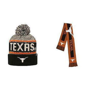Licensed NCAA Texas Longhorns Big Logo Scarf And Acid Rain Beanie Hat 2 Pack 08808 KO_19_1