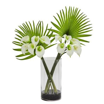 Silk Flowers -Cream Calla Lily And Fan Palm Arrangement In Cylinder Glass