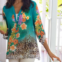 Soft Surroundings Tropical Blouse Tunic Top Animal Print