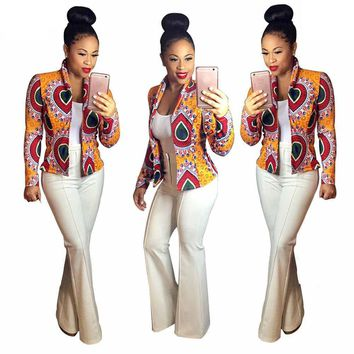 Women African Dashiki Print Turtleneck Long Sleeve Stand Short Casual Jacket US