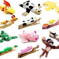 6pc Set of Slingshot Flingshot Flying Animals with Sound Monkey Pig Chicken Cow Duck Frog