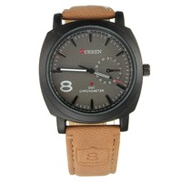 ELEGIANT Fashion Curren Men Sport Military Water Quartz Watch with Leather Strap
