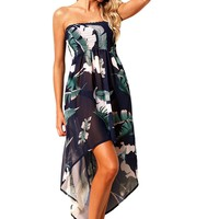 Tropical Leaf Print Navy Convertible Beach Dress