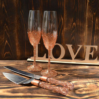 Wedding glasses and cake server set, Champagne flutes bronze and copper, Wedding toasting glasses, Cake cutting, Champagne Mr & Mrs Glasses