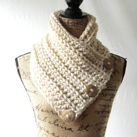 Ready To Ship New Tan Texured Button Cowl Scarf Women Fall Winter Accessory