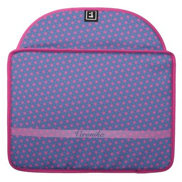 Pink stars on a blue background. Add name. MacBook Pro Sleeve