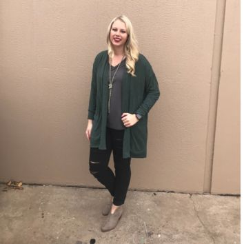 Olive Green Cardigan with Pockets