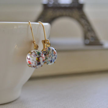 White Murano Millefiori Glass Earrings, Vintage Glass Cabochon, White Speckled Glass Lever Back