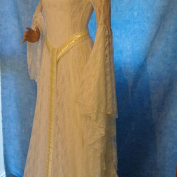 Elven Ivory lace dress Renaissance medieval handfasting  wedding custom made