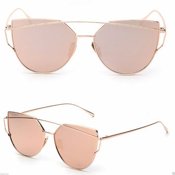 2016 GENTLE LOVE PUNCH SUNGLASSE BLACK SILVER GOLD FRAME ALL PINK MIRRORED  LENS