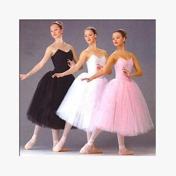 DCCKDZ2 Adult Romantic Ballet Tutu Rehearsal Practice Skirt Swan Costume for Women Long Tulle Dress White pink black color