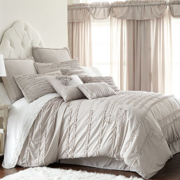 Comforter Set Collette Linen 24-piece King Tan