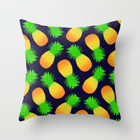 Pineapple Pattern in Navy Throw Pillow by Rachel Sample