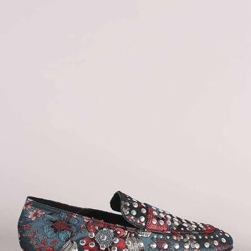 Qupid Studded Floral Brocade Slip-On Loafers