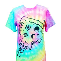 Pastel Pizza T-Shirt - Screen Printed T-Shirt - Pastel Grunge - Yin Yang Smiley Pizza - Alien Shirt - Seapunk - Cyber - Pizza Party