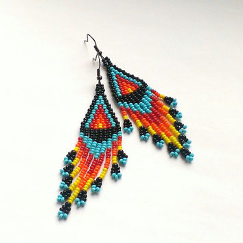 Beaded Earrings Native American Style-Long Dangle Earrings-Long Earrings With Fringe-Fringe Dangle Seed Bead Earrings-Beadwork Earrings