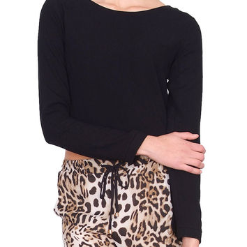 Routine Boat-Neck Crop Top - Black